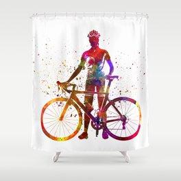 Woman triathlon cycling 02 Shower Curtain