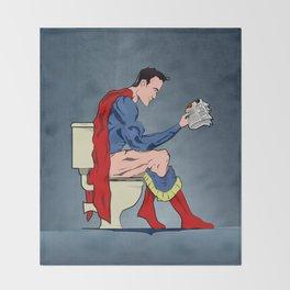 Superhero On Toilet, Restroom, bathroom art Throw Blanket