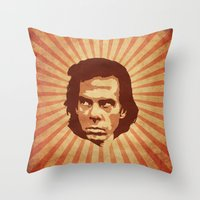nick cave Throw Pillows featuring Cave by Durro