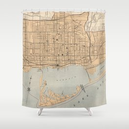 Vintage Map of Toronto (1906) Shower Curtain