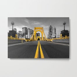 Pittsburgh Pennsylvania Steel City Skyline Bridge Black And White Photography Print Metal Print