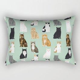 Cat breeds pattern kitty kittens cats tabby siamese white tortoiseshell Rectangular Pillow