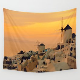 Sunset in Oia, Santorini Wall Tapestry