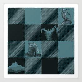 Fox and Bear Plaid #3 BLUE Art Print