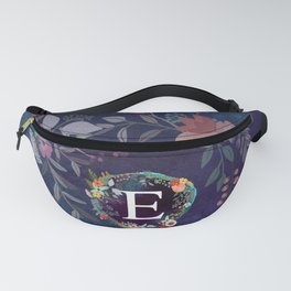 Personalized Monogram Initial Letter E Floral Wreath Artwork Fanny Pack