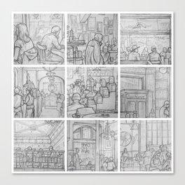 Cafe sketches, part two by David A Sutton. sketchbookexplorer.com Canvas Print