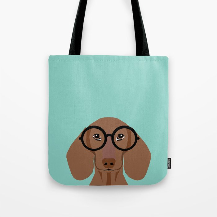 Remy - Daschund with Fashion glasses, hipster glasses, hipster dog, doxie,  Tote Bag