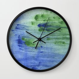 Blue-green abstract watercolor painting Wall Clock