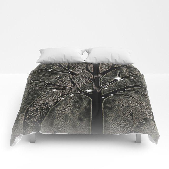 Black frozen winter sparkly night  Comforters
