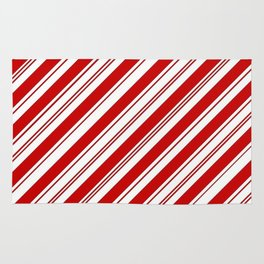 winter holiday xmas red white striped peppermint candy cane Rug