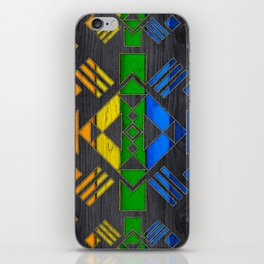Colorful Geometric Wooden texture pattern iPhone Skin
