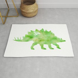 Green Stegosaurus Watercolor Painting Rug