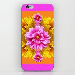 FUCHSIA PINK DAHLIAS & YELLOW SUNFLOWERS GARDEN ART iPhone Skin