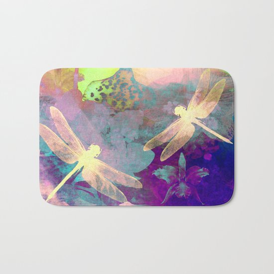 Painting Dragonflies and Orchids A Bath Mat