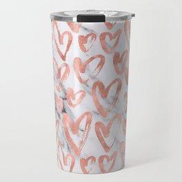 Hearts Rose Gold Marble Travel Mug