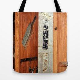 decorated wood door Tote Bag