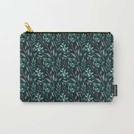 Branches with leaves on dark background Carry-All Pouch