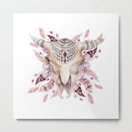 Cow skull with feathers Metal Print