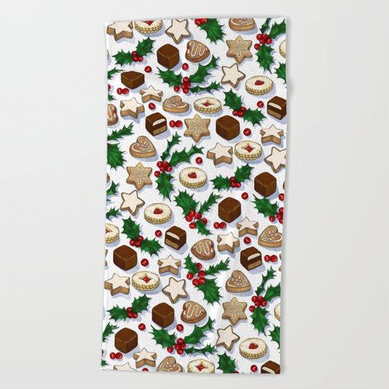 Christmas Treats and Cookies Beach Towel