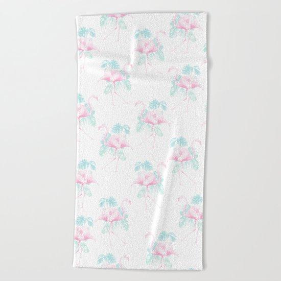 Tropical Flamingos Beach Towel