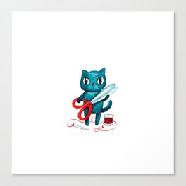 Sewing cat Canvas Print