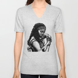 Drawing of Michonne from the Walking Dead Unisex V-Neck