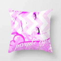 PURPLE EYES Throw Pillow