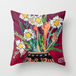 Daisy Bouquet in Tiger Vase on Deep Burgundy Wine Red Still Life Floral Painting Throw Pillow