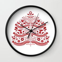 Red Scandinavian Folk Art Christmas Tree Wall Clock
