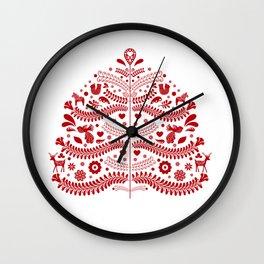 Red Scandinavian Folk Art Christmas Tree Wall Clock