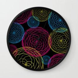 Spiro Blooms in Noir Wall Clock