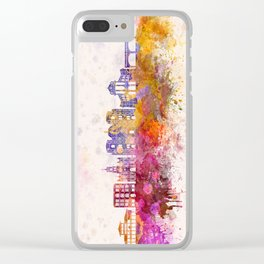 Cuenca EC skyline in watercolor background Clear iPhone Case