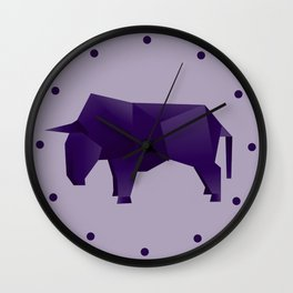 Do You Want to Play? - Origami Purple Bull Wall Clock