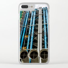 Colored pipelines on the facade of a building Clear iPhone Case
