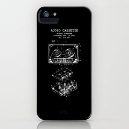 Retro Musik Kassette Skizze Vintage Audio Zeichnung iPhone Case