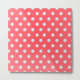 Coral Passion Thalertupfen White Pōlka Large Round Dots Pattern Metal Print