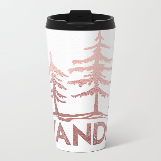 WANDER Adventure Forest Rose Gold Pink Metal Travel Mug