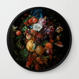 "Jan Davidsz. de Heem ""Festoon of Fruit and Flowers"" Wall Clock"