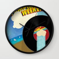 vampire weekend Wall Clocks featuring Vampire Weekend - Chicago by Luke Eckstein