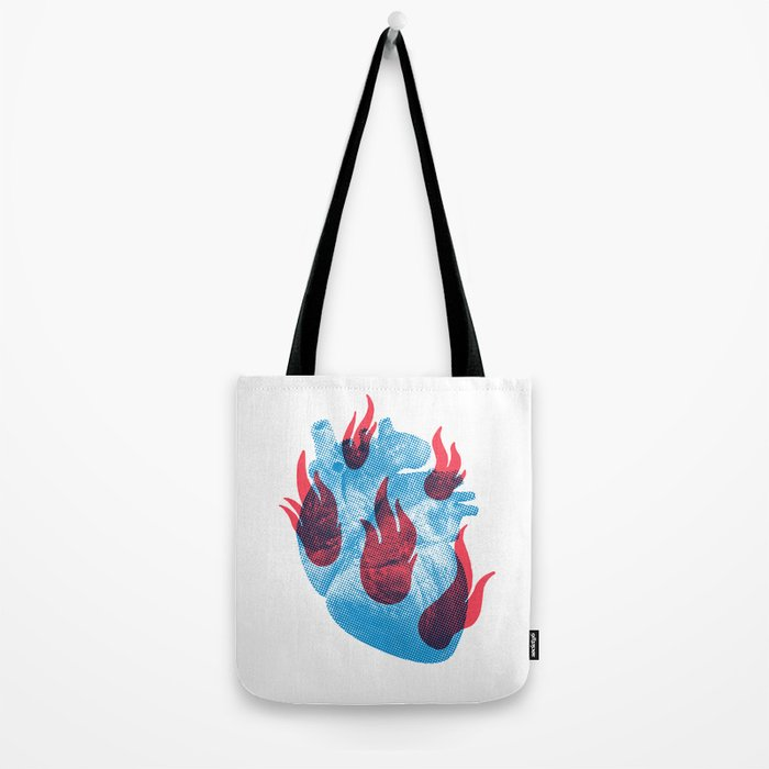 Heart in flames Tote Bag