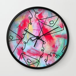 Grab Your Bag and Fly and See the World by Lenna Wall Clock