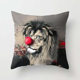 Circus Lion Clown Throw Pillow