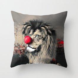 Circus Lion Clown Throw Pillow