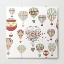 Adventures. Illustration with air balloons in vintage hipster style Metal Print
