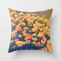 tulips Throw Pillows featuring Tulips  by Juliana RW