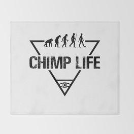 Chimp Life (Black) Throw Blanket