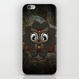 Cute little steampunk owl with floral elements iPhone Skin