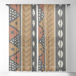 Let's play mudcloth Sheer Curtain