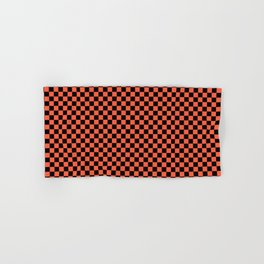 Living Color Color of the Year in Coral Orange and Black Checkerboard Hand & Bath Towel