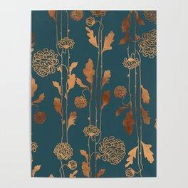 Art Deco Copper Flowers Poster
